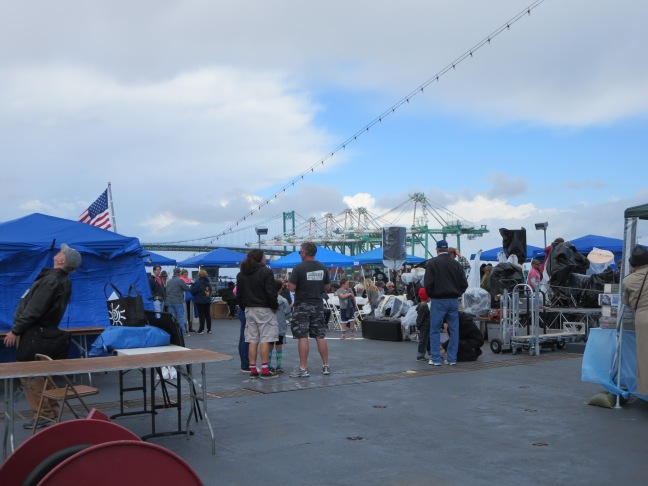 Lots of stalls on the fantail of the USS Iowa