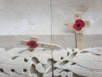 Crosses, adorned with poppies at Thiepval