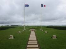 Aussie and French flags at the ruins of Pozières Windmill