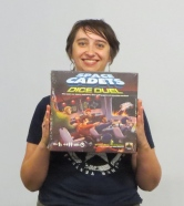 April-Lyn won Space Cadets in the FATDOG 2017 Raffle Bingo. She played the game the very next day at DOGCAT 2.
