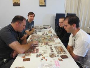 Eric, Doug, Serge, and Brett play Great Western Trail