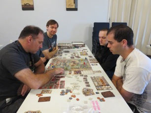 Eric, Doug, Serge, and Brett play Great Western Trail