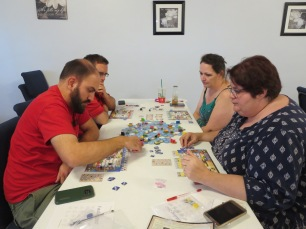 Kyle, Gilbert, Lisa and Toni play Oracle of Delphi
