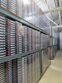 Stacks of games in the GMT Warehouse